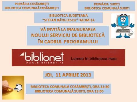 Deschidere Oficială BIBLIONET la Cosâmbeşti şi Suditi