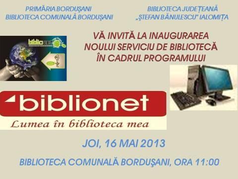 Deschidere Oficială BIBLIONET la Borduşani!