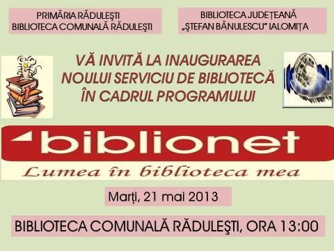 Deschidere Oficială BIBLIONET la Răduleşti!