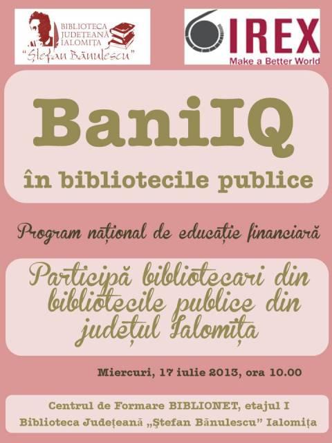 Sesiune de instruire a programului de educaţie financiară BaniIQ!
