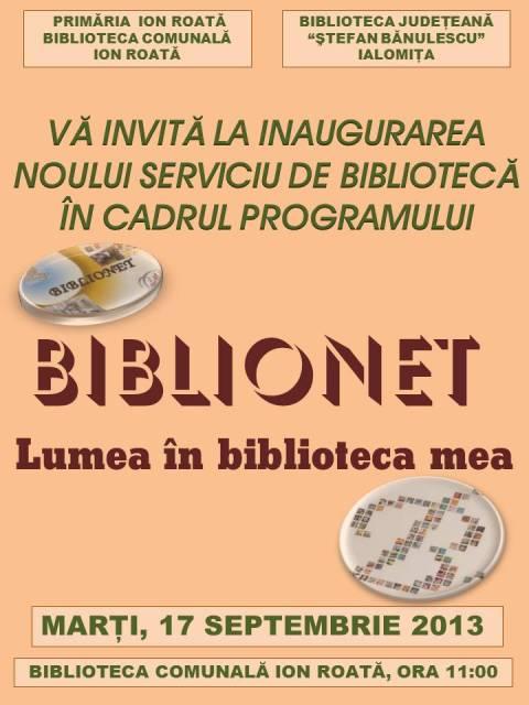 Deschidere Oficială BIBLIONET la Ion Roată!