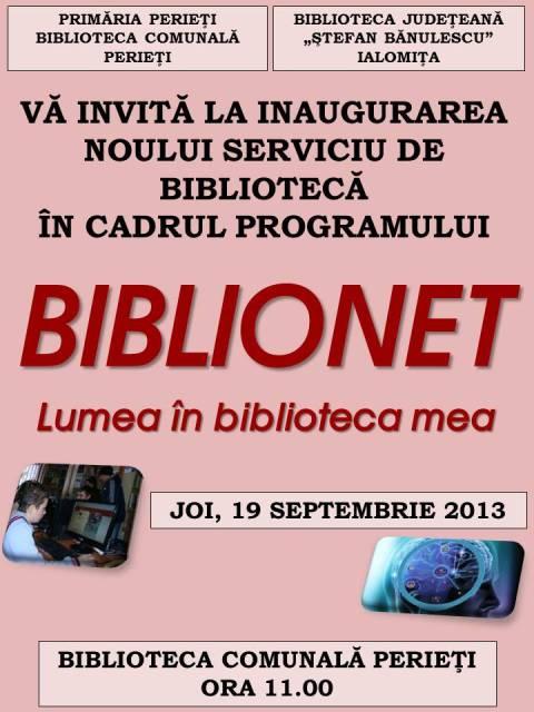 Deschidere Oficială BIBLIONET la Perieţi!