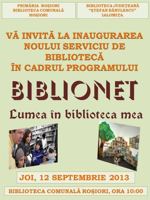 Deschidere Oficiala BIBLIONET la Rosiori.