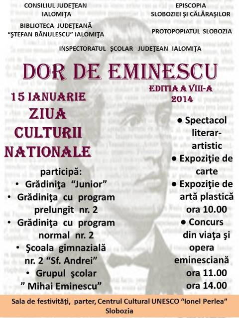 Ziua Culturii Naţionale - DOR DE EMINESCU, ediţia a VIII-a, 2014